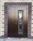 Входная дверь Джулия 1200*2050 Ковка Стеклопакет Беленый Дуб