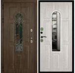 Уличная входная дверь «ДВЕРНОЙ КОНТИНЕНТ ЛИОН темный орех с ковкой и стеклопакетом»
